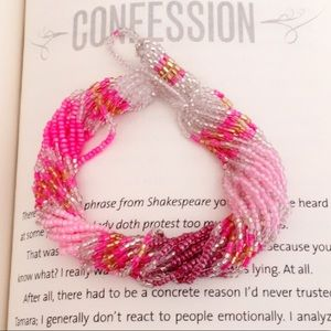 #A200 Pink Seed beads Twisted Bracelet